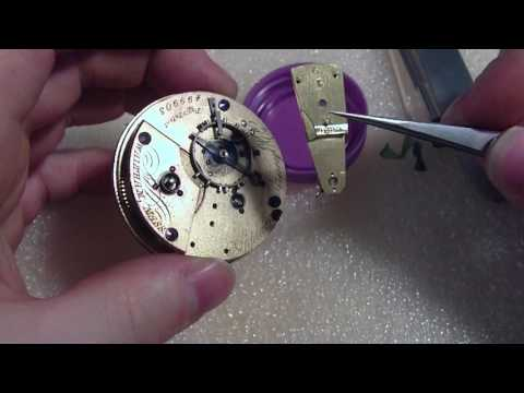 How I tighten a pocket watch hairspring collet, Waltham, Appleton Tracy