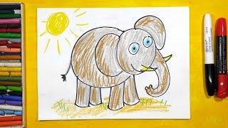 Как рисовать Слона. Урок рисования для детей от 3 лет | Раскраска для детей