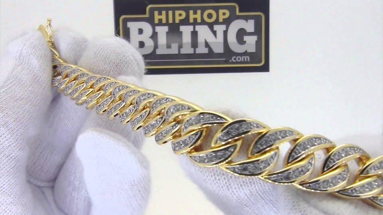 Cz Gold Cuban Link Hip Hop Bracelet All G Set Stones