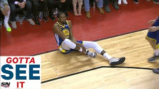 gotta-see-it-kevin-durant-helped-off-floor-after-apparent-leg-injury