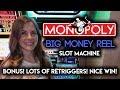 Max Bet! Bonuses + Re-Triggers on Monopoly BIG MONEY Reel! Nice WIN!