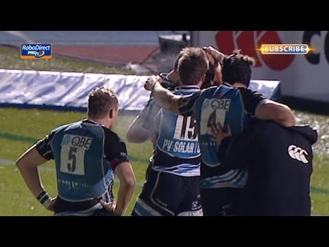 Great dummy sold by Ruaridh Jackson as he scores a try - Glasgow Warriors v Munster 29th March 2013
