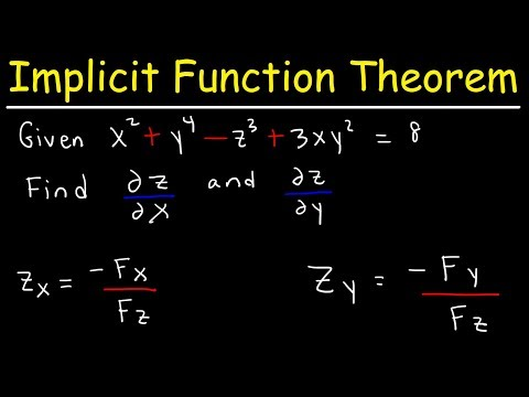 Implicit Differentiation With Partial Derivatives Using The Implicit Function Theorem