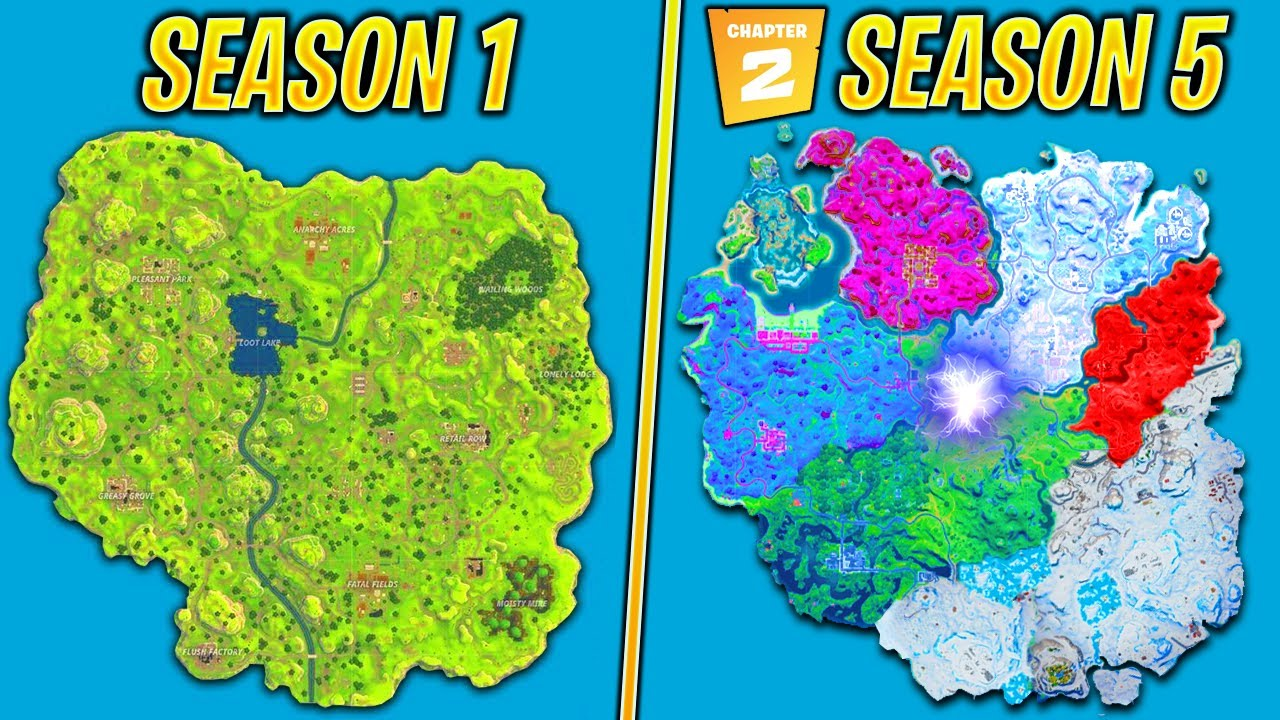 Evolution Of The Entire Fortnite Island Season 1 Chapter 2 Season 5 Youtube Kicking things off, the biggest addition to the map is a desert biome, complemented by the new named areas of paradise palms and lazy links. evolution of the entire fortnite island season 1 chapter 2 season 5