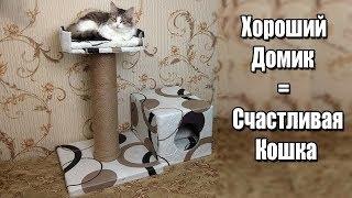 как сделать домик для кошки своими руками из одной коробки