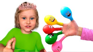 Pretends to play with her Magic balloon - Preschool toddler learn color | Bobosiki TV