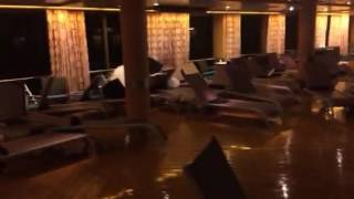 Damage from a storm while on a cruise ship when you hit a big wave