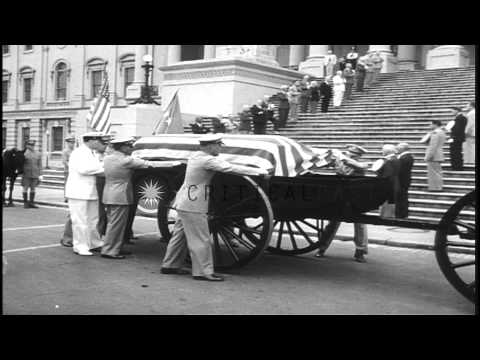 People pay their last respects to General Pershing before his funeral at Arlingto...HD Stock Footage