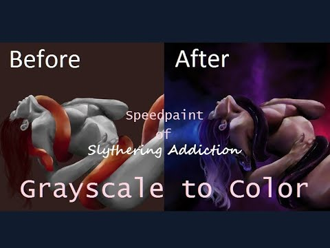 Speedpaint - *Slithering Addiction* - Grayscale to color, Krita