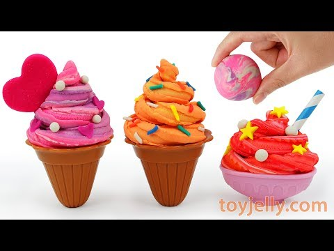 Play Doh How to Make Sundae Ice Cream Cone Learn Colors Kinder Surprise Eggs Baby Finger Kids Song