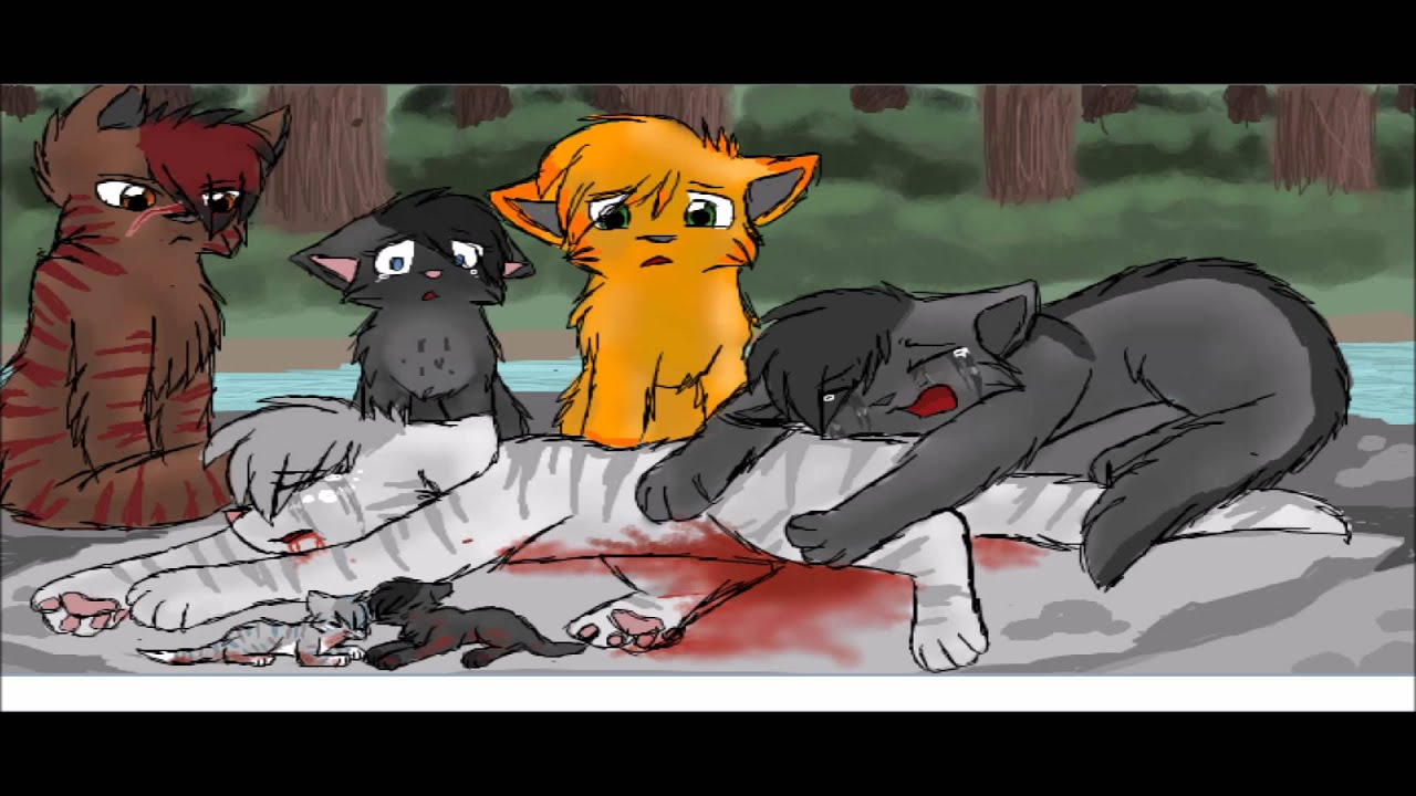 graystripe and silverstream terrible things - YouTube Sad Cat Lineart