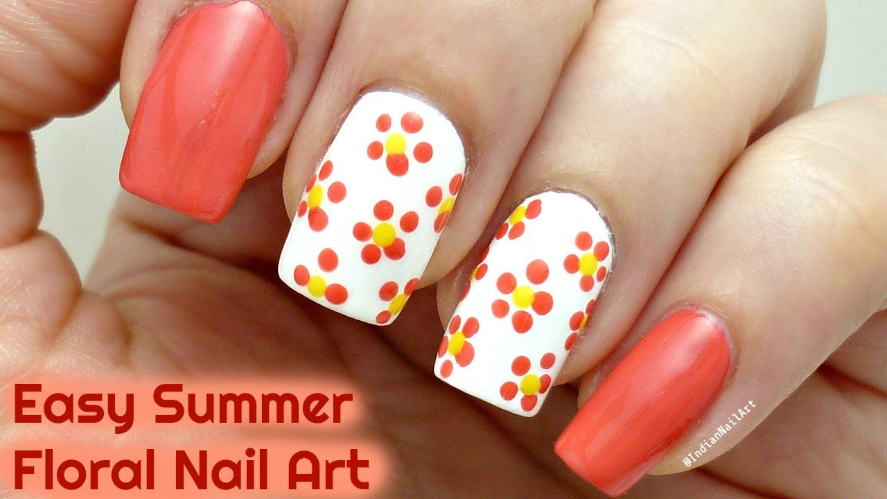 Easy Summer Floral Nail Art Tutorial In Hindi इज फ ल रल