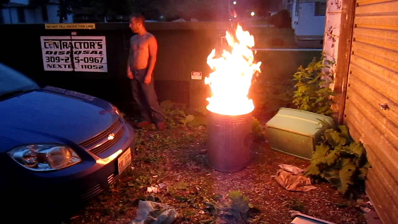 Trash Can Fire (6-2-11) - YouTube