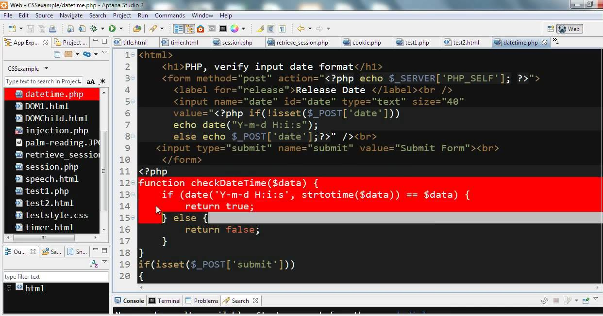 PHP example - verify input date format