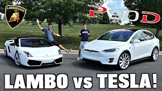 tesla Model X P90D vs. Lamborghini Drag RACE! (Shocking Results)