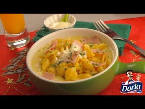 Crema de maíz con conchitas Doria y jamón