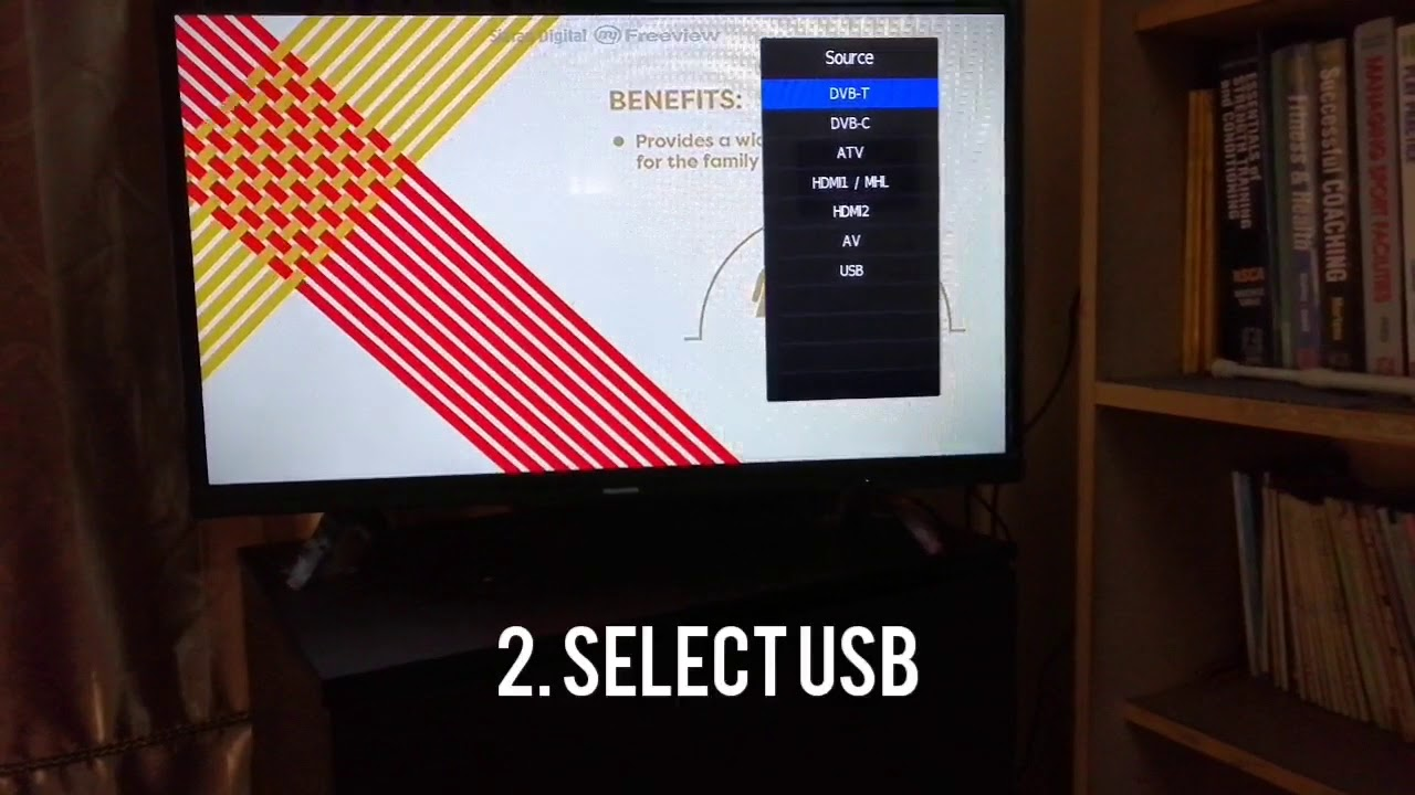 How to view video in fullscreen when use USB in Skyworth LED 32'' TV - YouTube