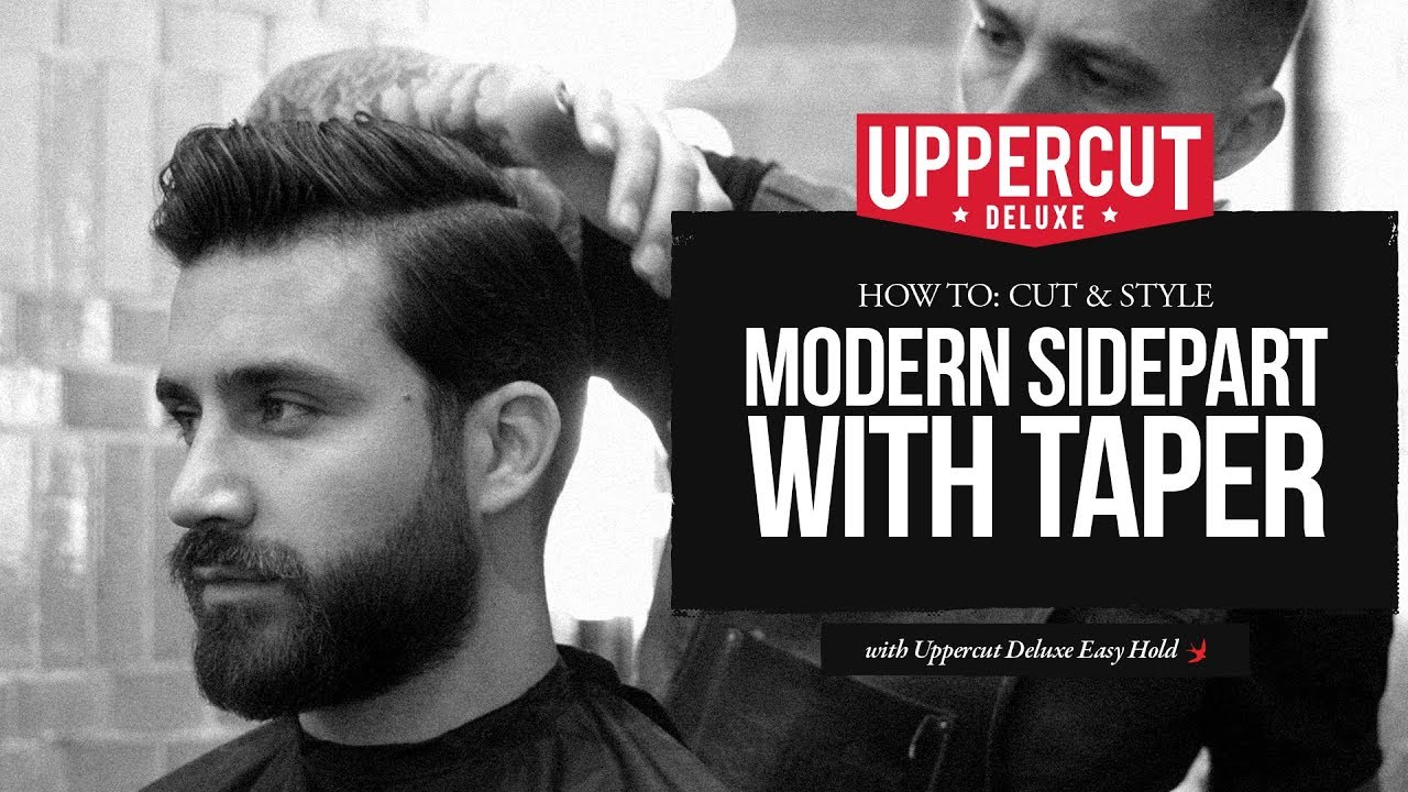 haircut tutorial: how to cut and style modern side part with taper