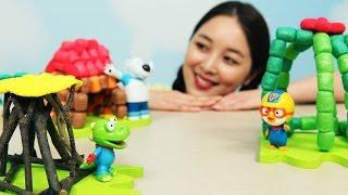 [유라] 장난감(toy)_뽀로로와 친구들 아기돼지 삼형제 동화 집짓기 집 만들기 수수깡 pororo the three little pig children's story