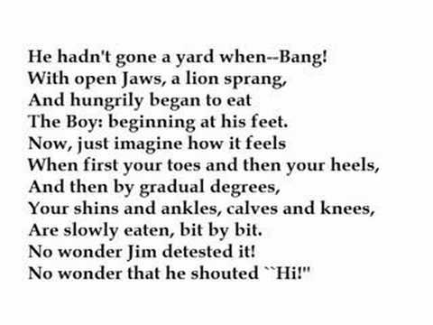"""""""Jim, who Ran Away and was Eaten by a Lion""""  Hilaire Belloc (read by Tom O'Bedlam)"""