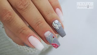 Babyboomer And Gray Florar Nails / Colours By Molly