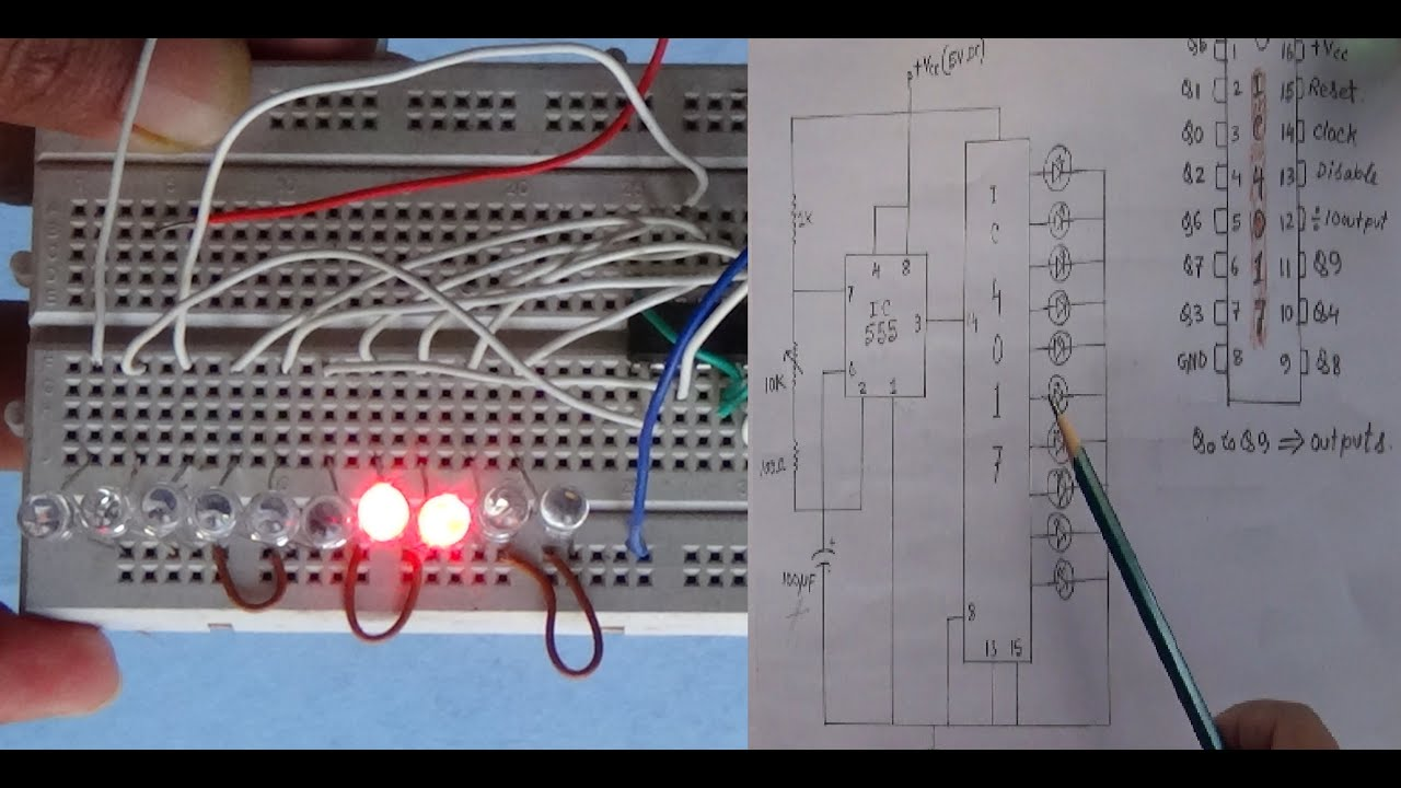 LED Chaser circuit explained using 4017 IC - YouTube