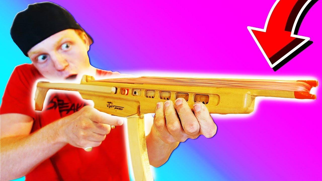 WORLD'S CRAZIEST RUBBER BAND MACHINE GUN! - YouTube