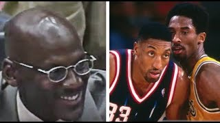 Michael Jordan Watches Kobe Bryant & Dennis Rodman Vs Scottie Pippen Epic Duel!