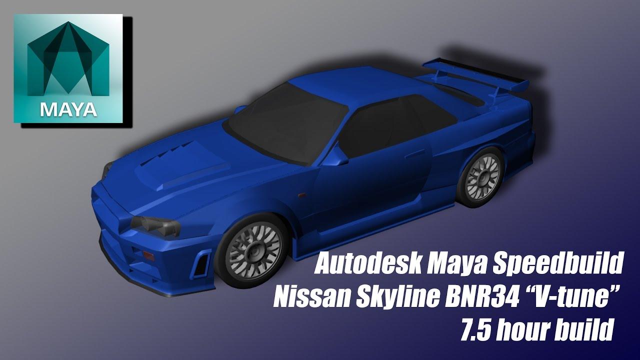 Speed Build Tomos R34 Gt R V Tune In Autodesk Maya Youtube