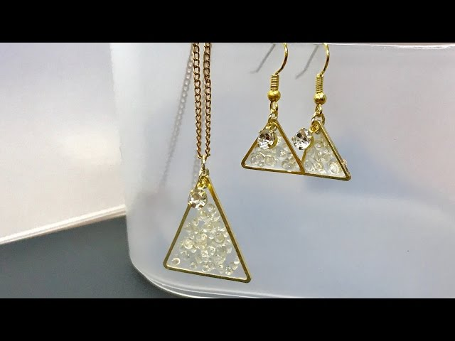 【UVレジン 100均】ダイヤビーズで頻繁使いできそうなお揃のネックレスとピアス作ってみました!(かしめ玉に挑戦!)【初心者】resin  bead necklace and earrings