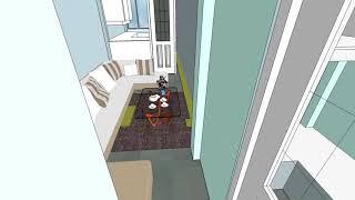 SketchUP vivienda de 4*14 m2