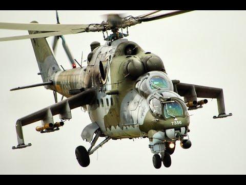 Military Mil Mi-24 in action at german airshow