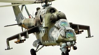 Military Mil Mi-24 in action at german airshow
