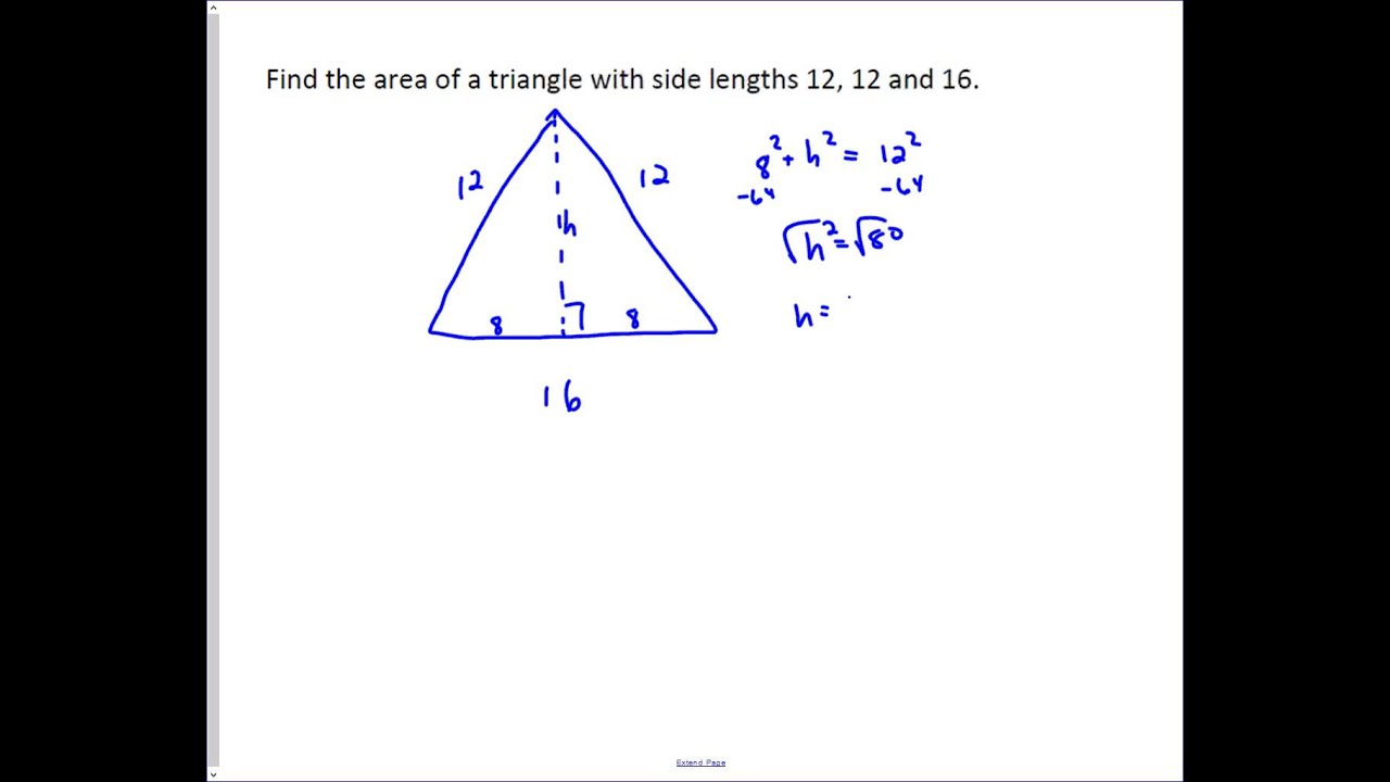 Area of an Isosceles Triangle  YouTube