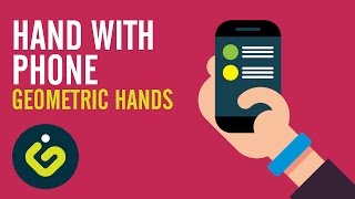 Speed Drawing, How to draw Flat Hand, Hand With Phone, Adobe Illustrator