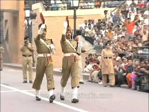 Indian soldier marching after the loud command at Wagah Border