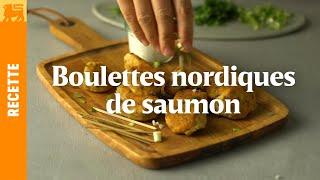 Boulettes Nordiques de saumon aux herbes fraîches et dip au yaourt