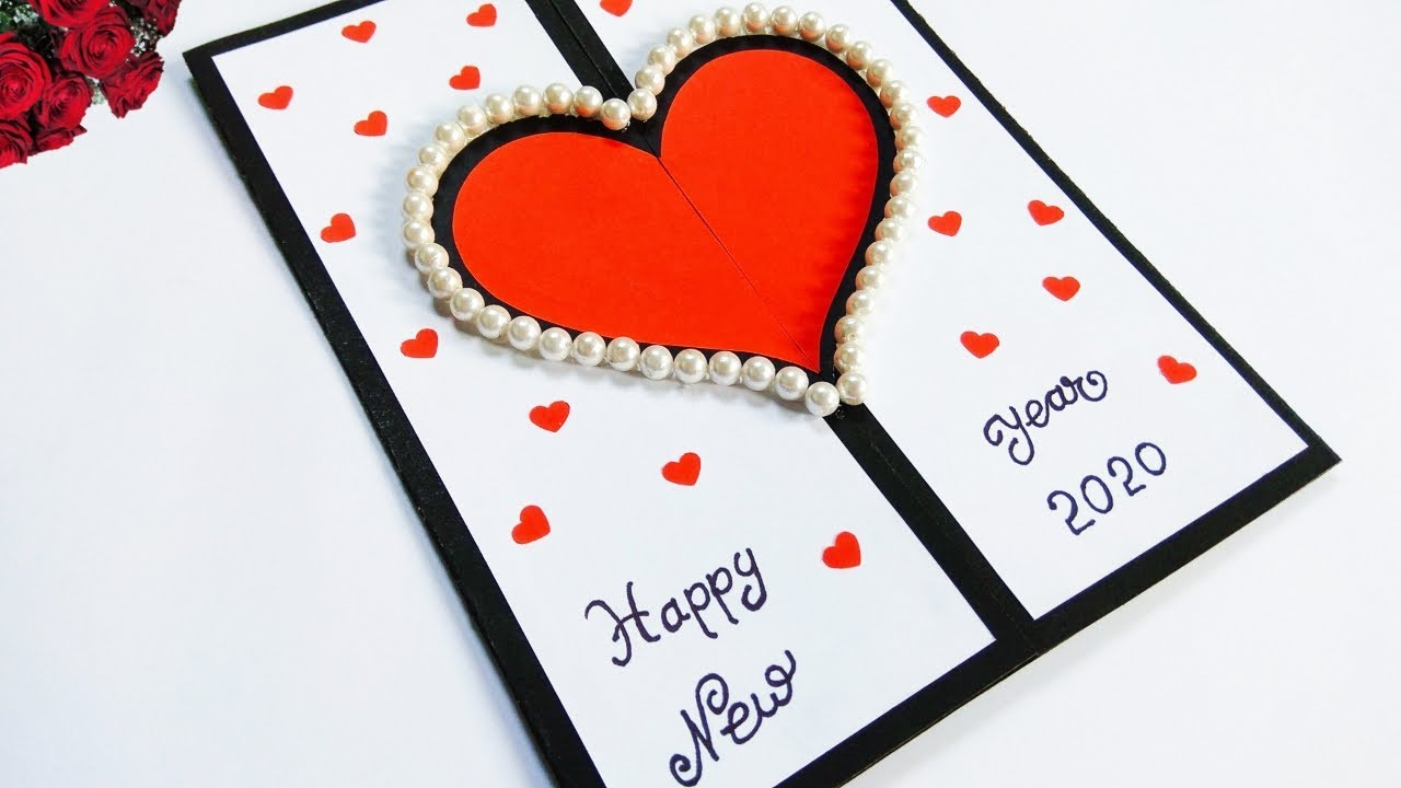 Happy new year card 4  how to make new year greeting card  new year  card making handmade easy