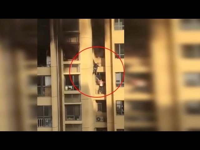 Two residents forced to jump to escape fire in high rise
