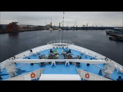 Cruise Ship Thomson Celebration arriving into Newcastle, Port of Tyne, UK - Timelapse