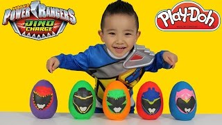 Power Rangers Dino Charge Play-Doh Surprise Eggs Opening Unboxing Fun With Ckn Toys