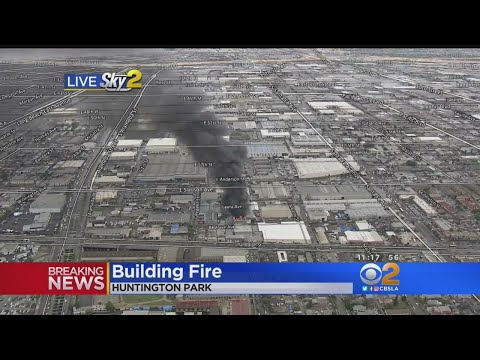 Two-Alarm Commercial Blaze Collapses Roof In Huntington Park