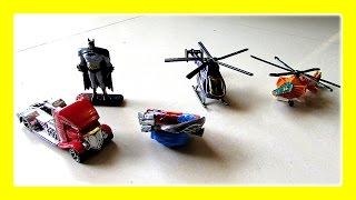 Batman Vs Monster Truck HotWheels Toys / Kids Playtime With Chopper, Laser Gun by JeannetChannel