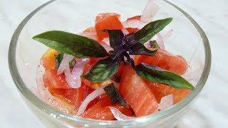 Как сделать салат из помидоров с базиликом