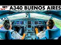 Piloting the A340 out of Buenos Aires | Cockpit Views