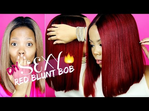 DIY OMBRE RED BLUNT BOB LACE WIG|BEGINNGER FRIENDLY AFFORDABLE WIGS |RED HAIR DYE| UNIWIGS TASTEPINK