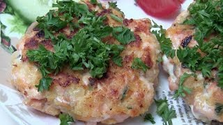 Delicious Salmon fish cakes. How to make fish patties. Easy recipe
