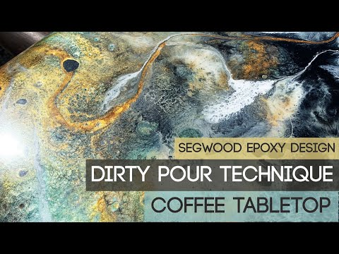 Epoxy dirty pour technique - coffee tabletop