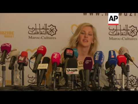 Ellie Goulding gives press conference and plays concert in Morocco