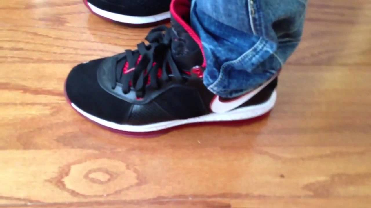 lebron 8 v1. nike lebron 8 v1 bred black red white on feet